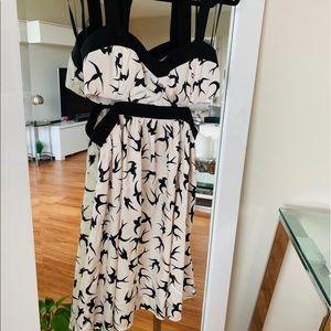 Midi black and white flare dress